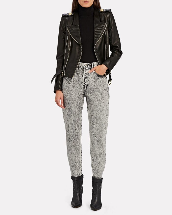 fall style 80s acid wash jeans and a biker jacket