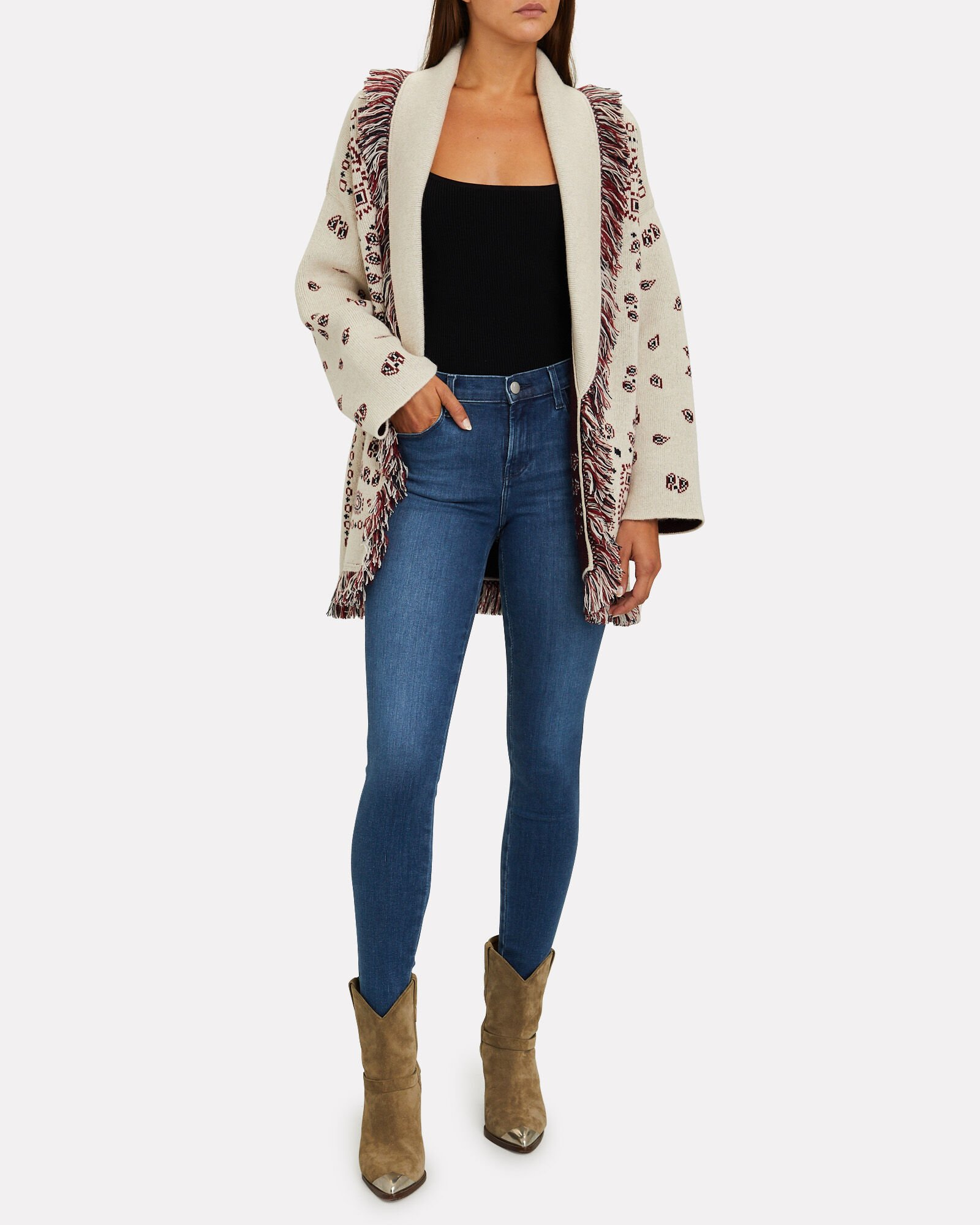 jeans and a cardigan