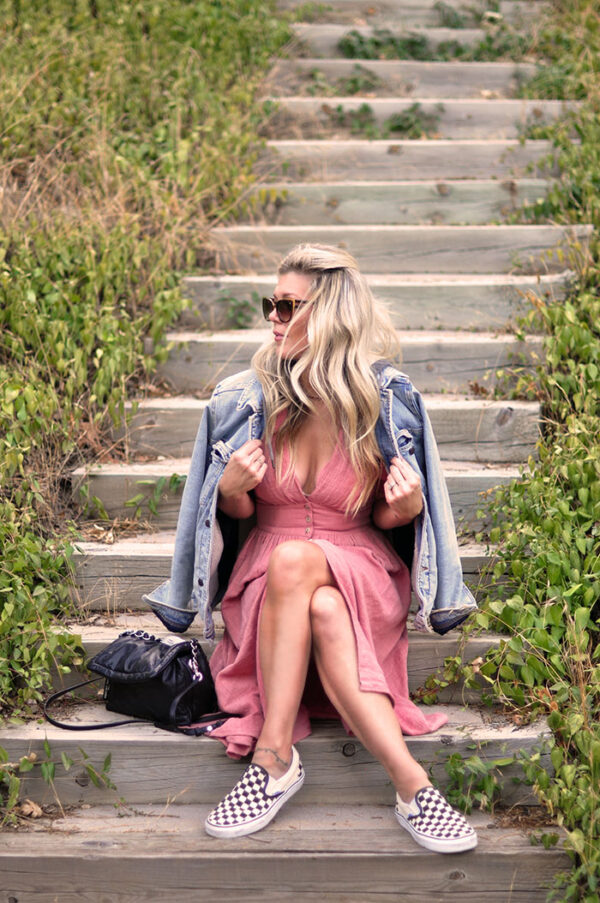 easy fall style pink midi dress with vans and denim jacket