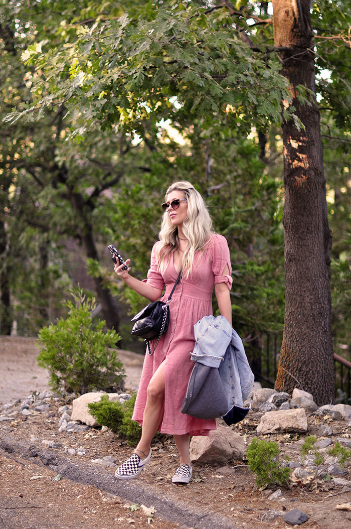 blush dress from summer to fall style