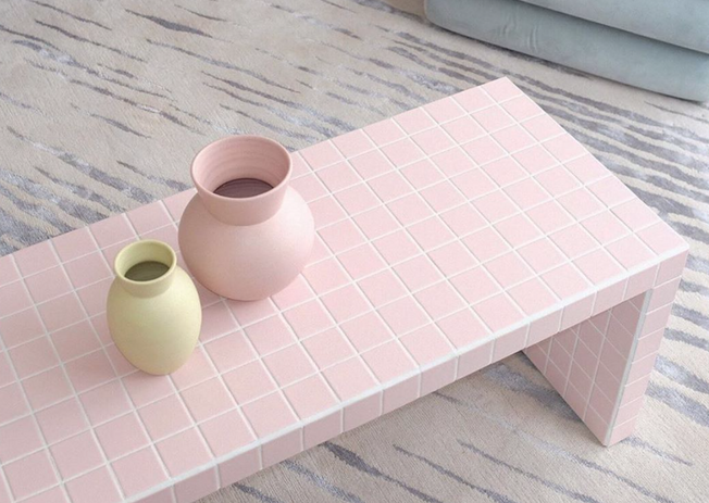 soft pink tiled coffee table