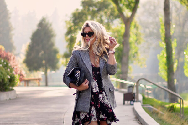 summer to fall- floral dress with blazer and sneakers - love maegan