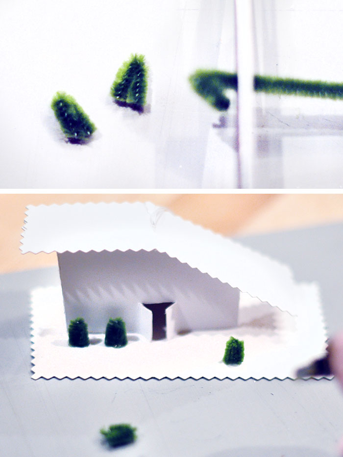 tiny houses with tiny pipe cleaner trees