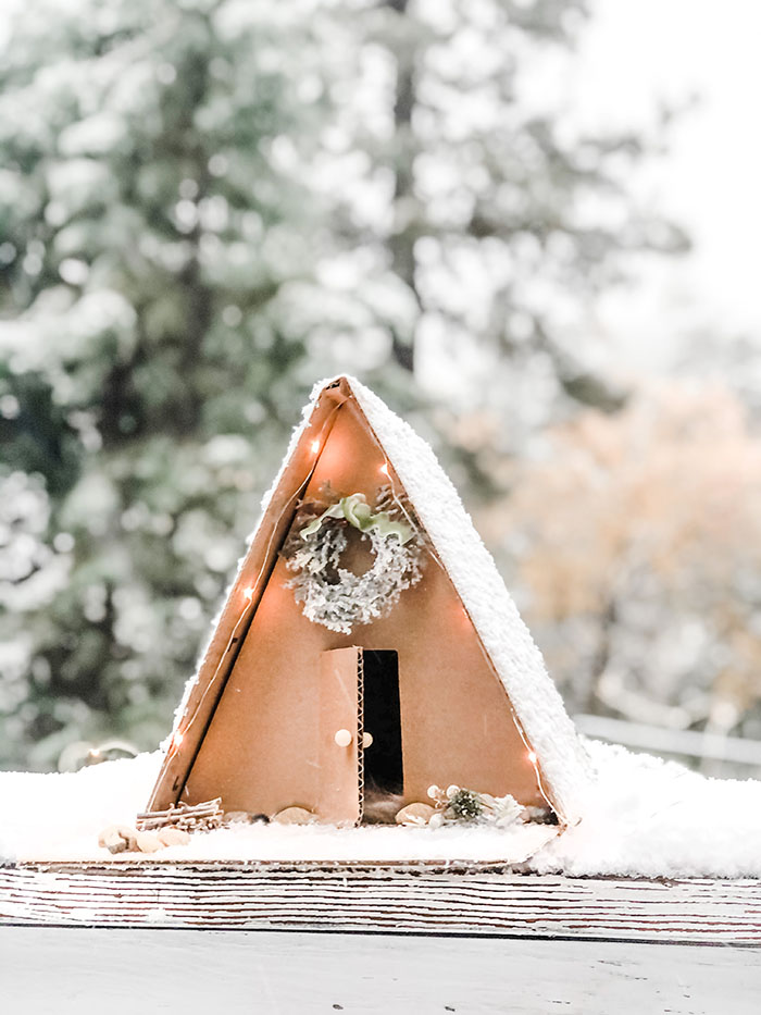 DIY Winter A-Frame Cabin in the woods, how to make a mini a-frame house out of cardboard
