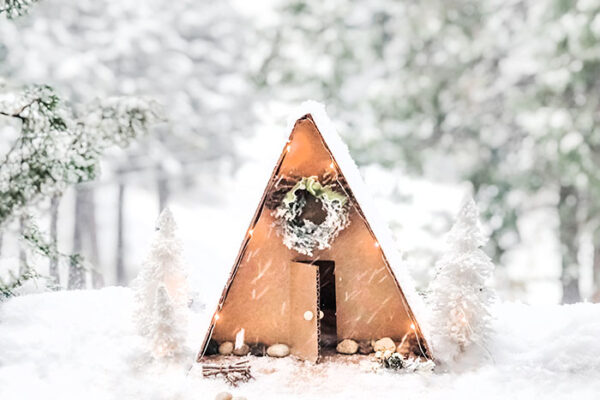 diy mini a-frame winter cabin in the snow - lake arrowhead