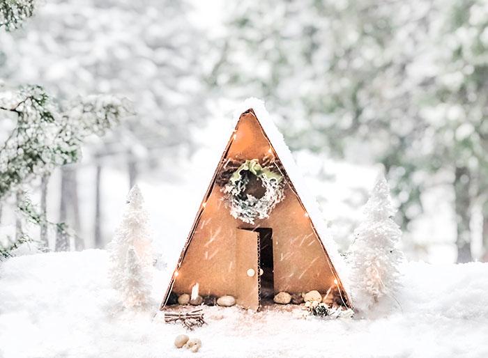 diy mini a-frame winter cabin in the snow - lake arrowhead