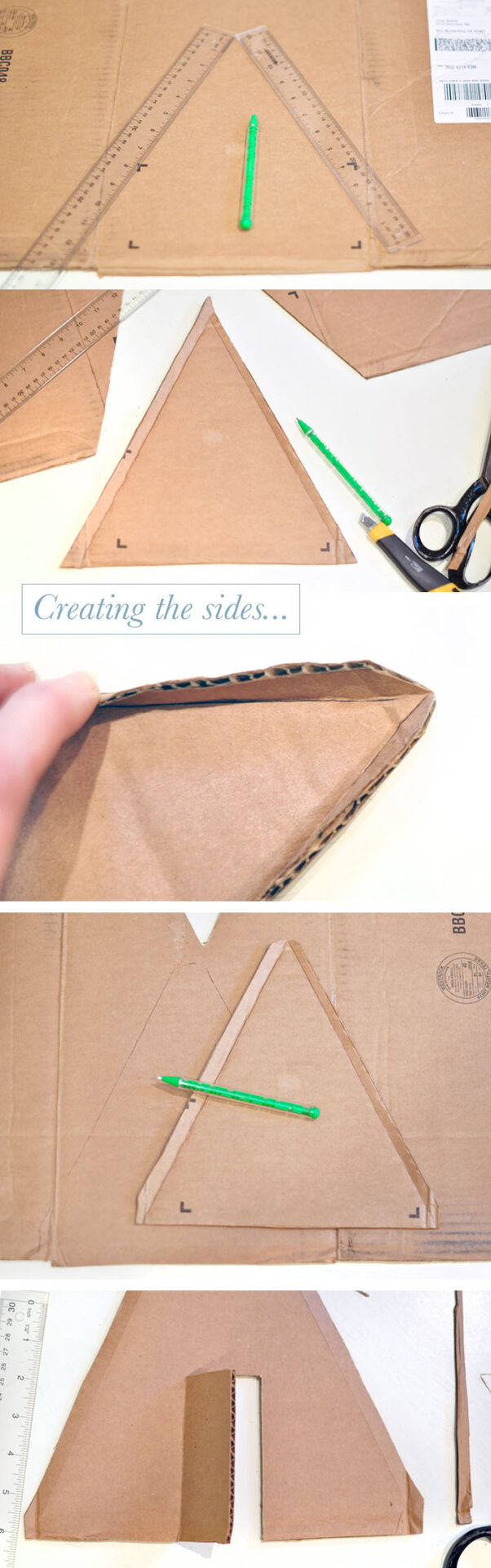 DIY Winter A-Frame Cabin in the woods, how to make a mini a-frame house out of a cardboard box