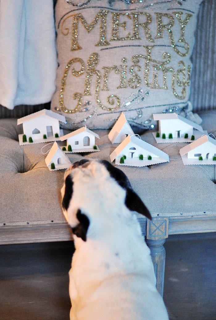 little tiny houses+diy christmas ornaments, french bulldog