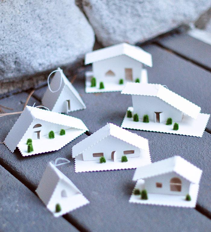 christmas decor ideas, little tiny houses, diy christmas ornaments