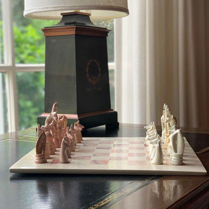 Handmade+White+Pink+Chess+Board+Game