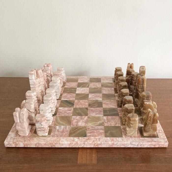 pink stone chess set