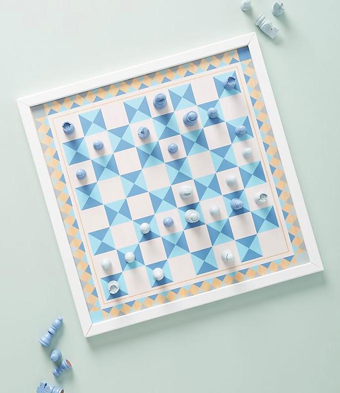 pretty blue and white chess set