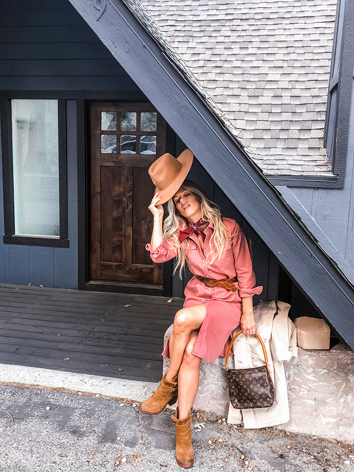 vintage modern western dress in dusty rose - fall winter style lee denim - love Maegan Tintari