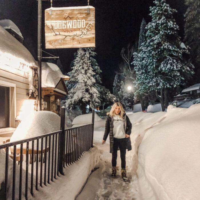 Dogwood Tavern in the snow lake arrowhead, blue jay california snow