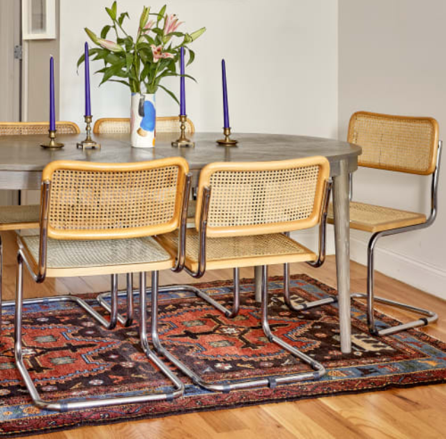 80s woven cane chairs