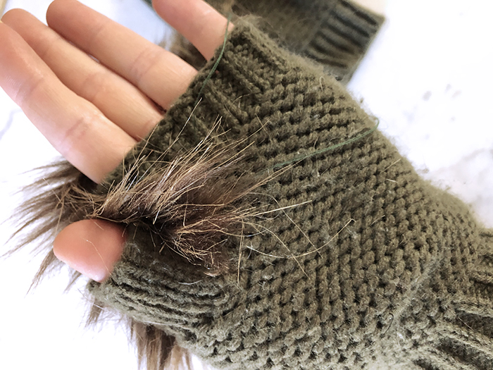 How to make faux fur gloves, diy fur gloves, fingerless knit gloves with faux fur