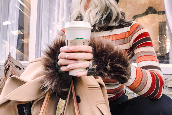 DIY Faux fur fingerless gloves - brown striped 70s turtleneck-louis vuitton bag-crop