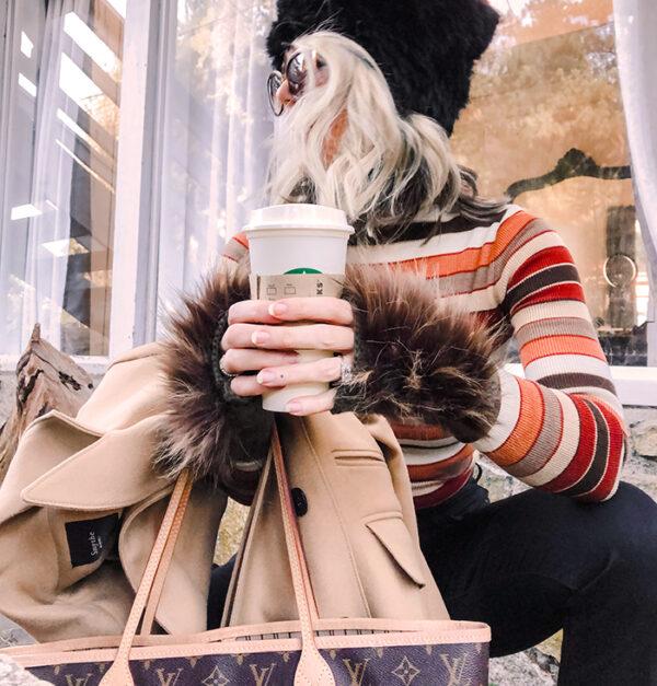 DIY Faux fur fingerless gloves - brown striped 70s turtleneck-louis vuitton bag-crop