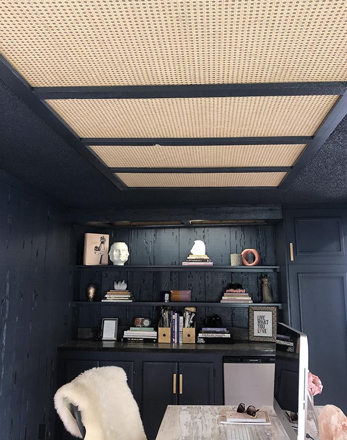DIY Woven Cane Webbing Ceiling Panels for Fluorescent Light Fixture