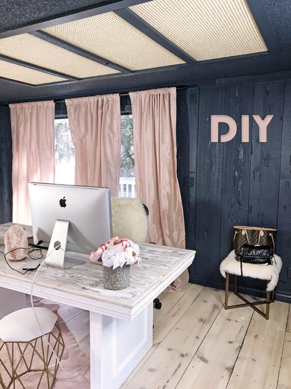 DIY blog-love Maegans office-dark walls-pink curtains-woven cane rattan light panel covers flourescent lighting