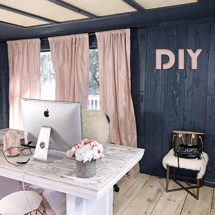 DIY blog-love Maegans office-dark walls-pink curtains-woven cane rattan light panel covers flourescent lighting