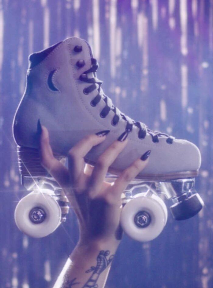 moonlight roller skates - mirrorball grey suede skates