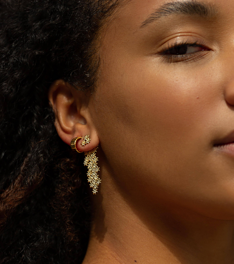 gold flower ear jackets and earrings aurate jewelry
