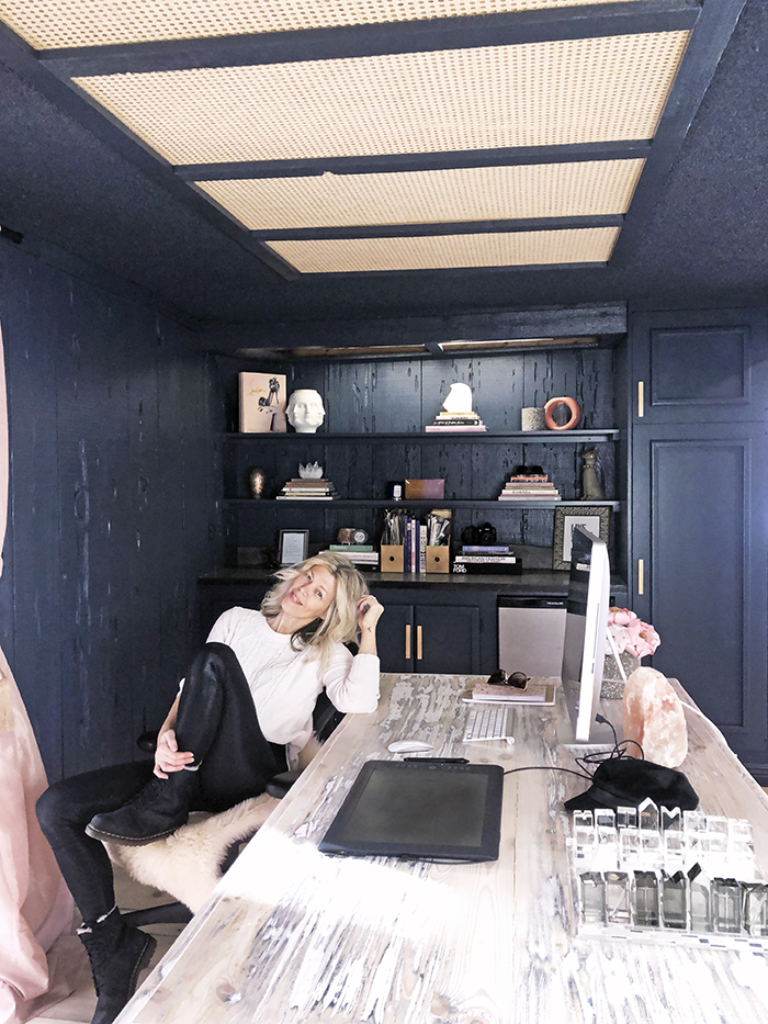 love maegan's new office in Lake Arrowhead, dark blue walls and blush curtains, desk area