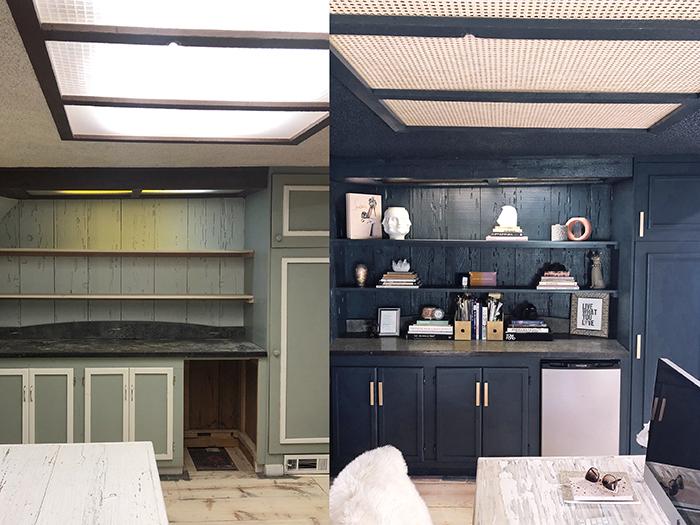 DIY Woven Cane Webbing Ceiling Panels for Fluorescent Light Fixture troffers