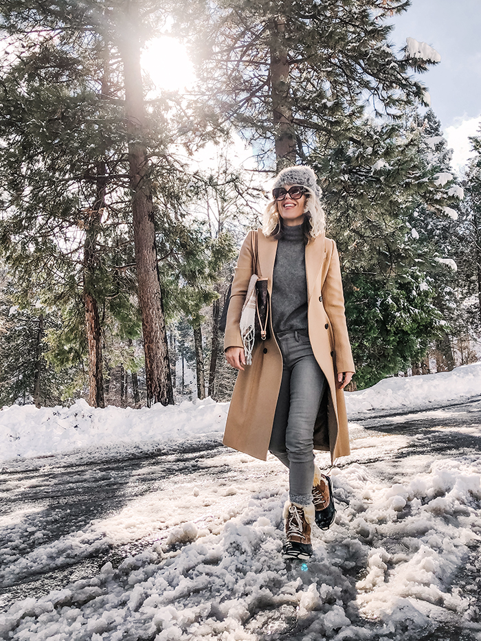 winter style, snow outfits, lake arrowhead winter snow days, tree lined snow capped street, cloudy skies