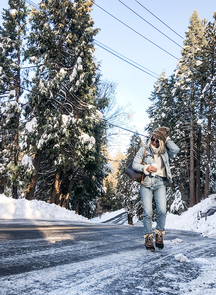 winter style, what to wear in the snow, denim on denim, snow outfits, lake arrowhead snow days love maegan