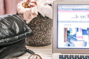 desktop flowers-laptop speckled concrete pot vase-peonies-barton perreira sunglasses