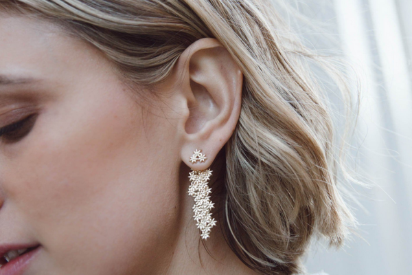 earrings-flower drop ear jacket-white gold silver
