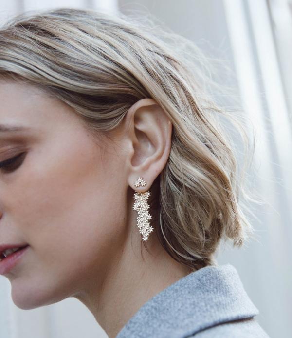 earrings-flower drop ear jacket-white gold silver