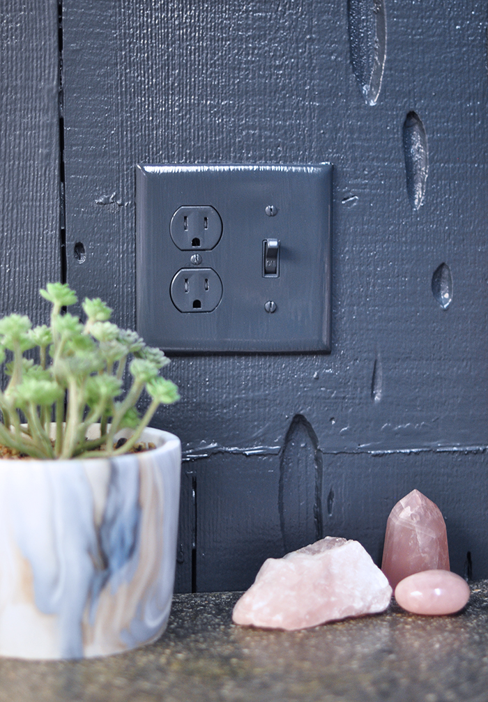 painting dark walls, painting light switch plate covers, textured wood walls, worm wood, wormwodd walls