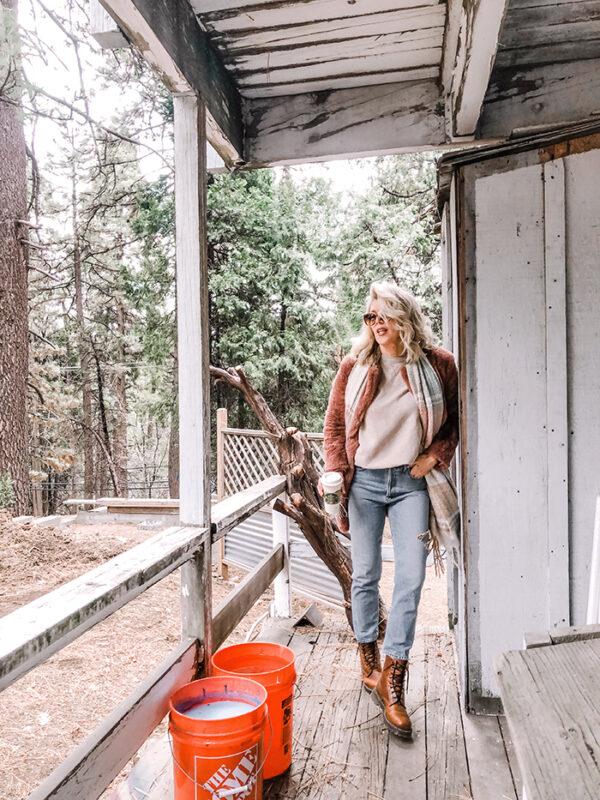 light wash jeans-docs-fauxt fur coat-home depot-love maegan-lake arrowhead
