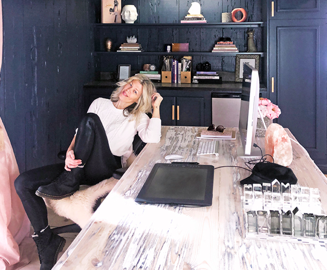 love maegan new office-dark blue walls-diy blogs