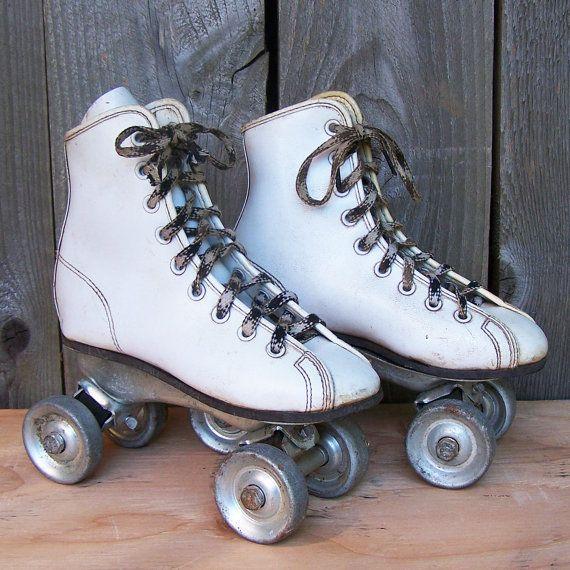 vintage roller skates with metal wheels