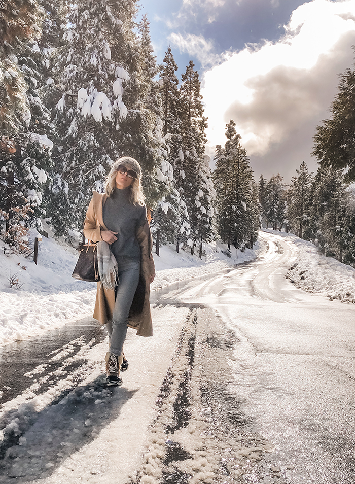 walking in a winter wonderland, winter style, outfits in the snow, camel coat, lake arrowhead