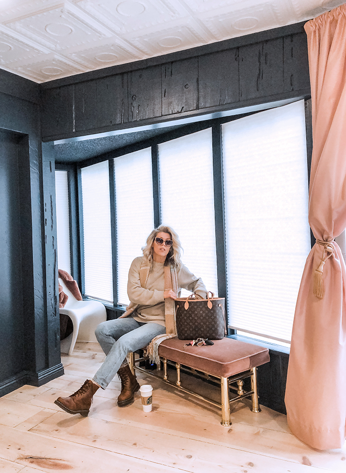 winter style, winter outfits with jeans and docs, louis vuitton neverfull, office renovation, lake arrowhead, love maegan office