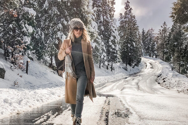 winter style-snow outfit-camel coat-lake arrowhead-love maegan
