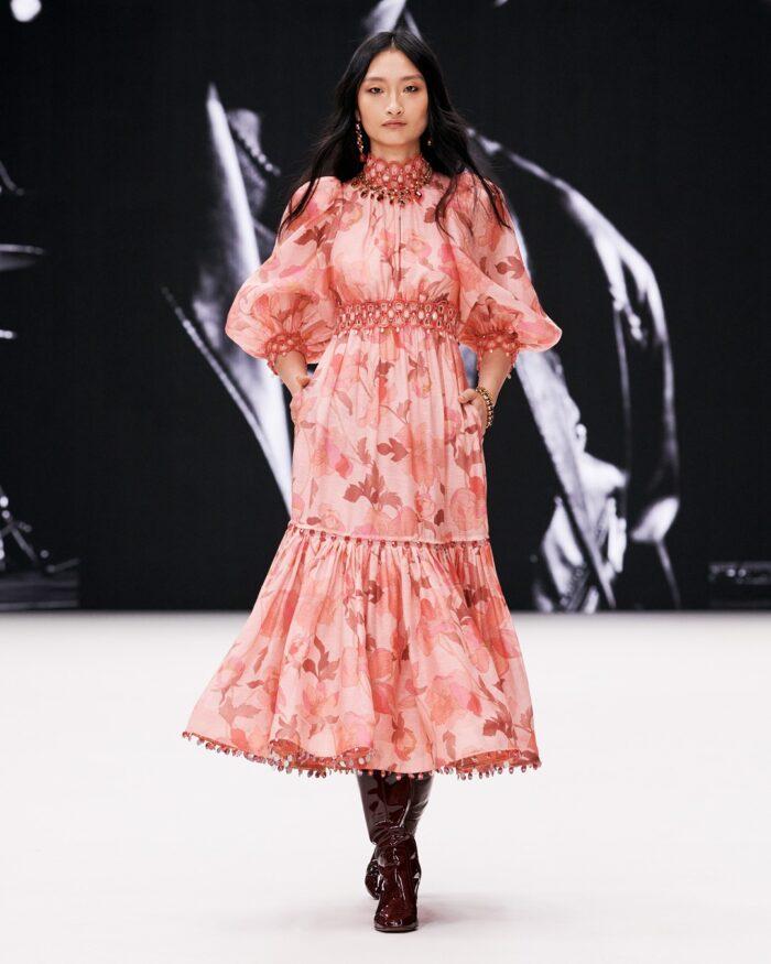 pretty pink dress- zimmermann fall 2021 runway collection