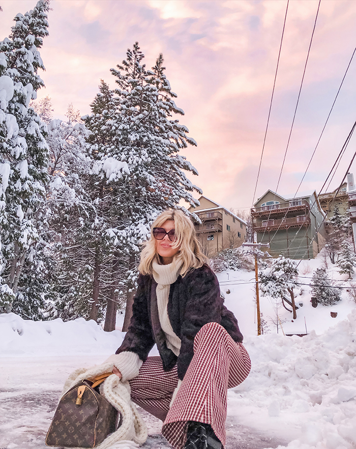 small town life, winter, snow days, winter outfits, snow style, bell bottoms, 70s style, lake arrowhead, life in lake arrowhead