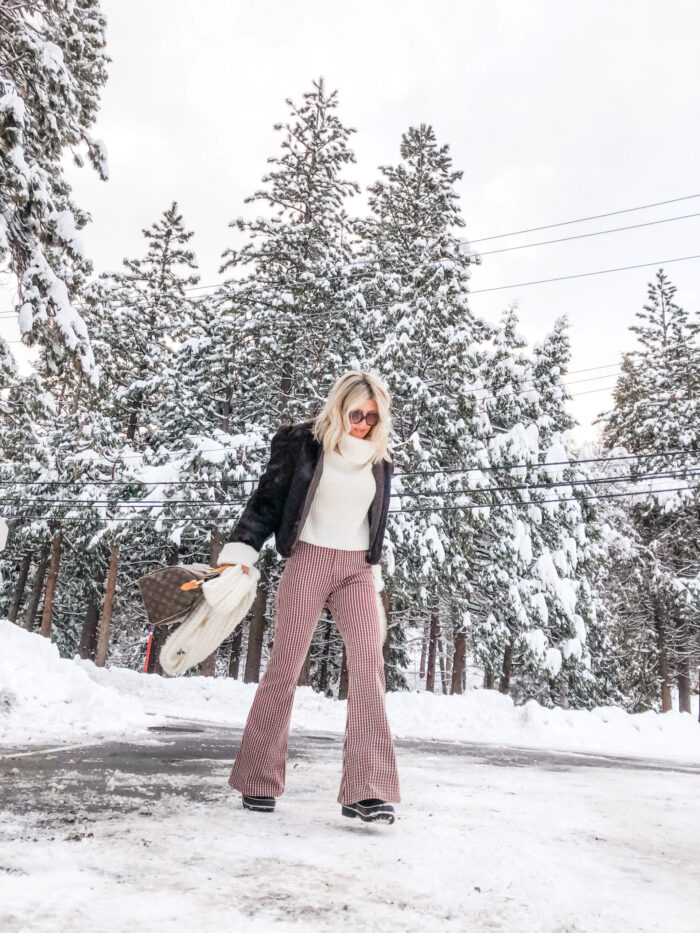 70s look, winter style, lake arrowhead, snow day, winter, snow outfits, life in lake arrowhead, bell bottoms