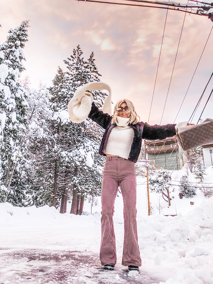 winter style, bell bottoms, 70s style in the snow, lake arrowhead, snow outfits