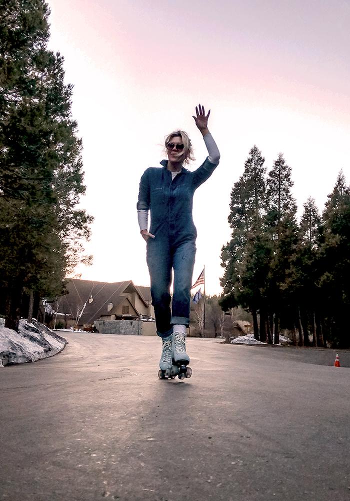 denim coveralls, blue roller skates, btfl skates, roller skating