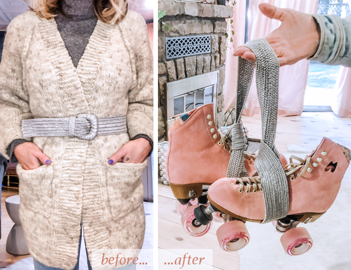 DIY roller skate leash-how to make a skate carry strap using an old woven stretch belt