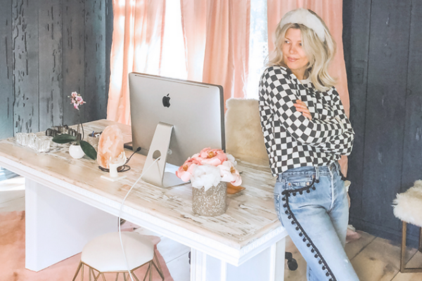 how to turn an old table into a statement desk, love maegans office, office decorating ideas, statement desks, dark walls, light wood floors, pink curtains, diy blogs