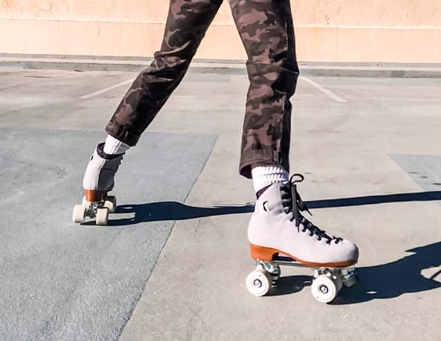 grey suede roller skates, moonlight rollers, mirror balls, skates