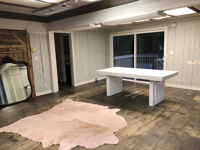 diy old table to statement desk